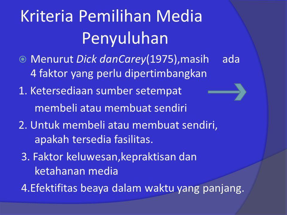 Kriteria Pemilihan Media Penyuluhan  Menurut Dick danCarey(1975),masih ada 4 faktor yang perlu dipertimbangkan 1. Ketersediaan sumber setempat membel