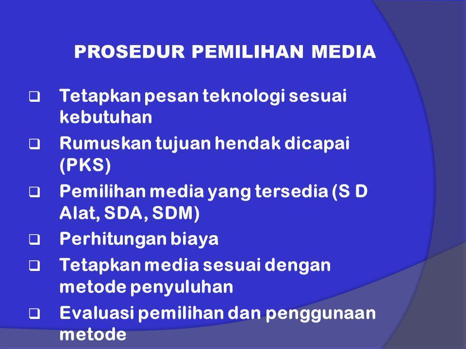 PROSEDUR PEMILIHAN MEDIA  Tetapkan pesan teknologi sesuai kebutuhan  Rumuskan tujuan hendak dicapai (PKS)  Pemilihan media yang tersedia (S D Alat,