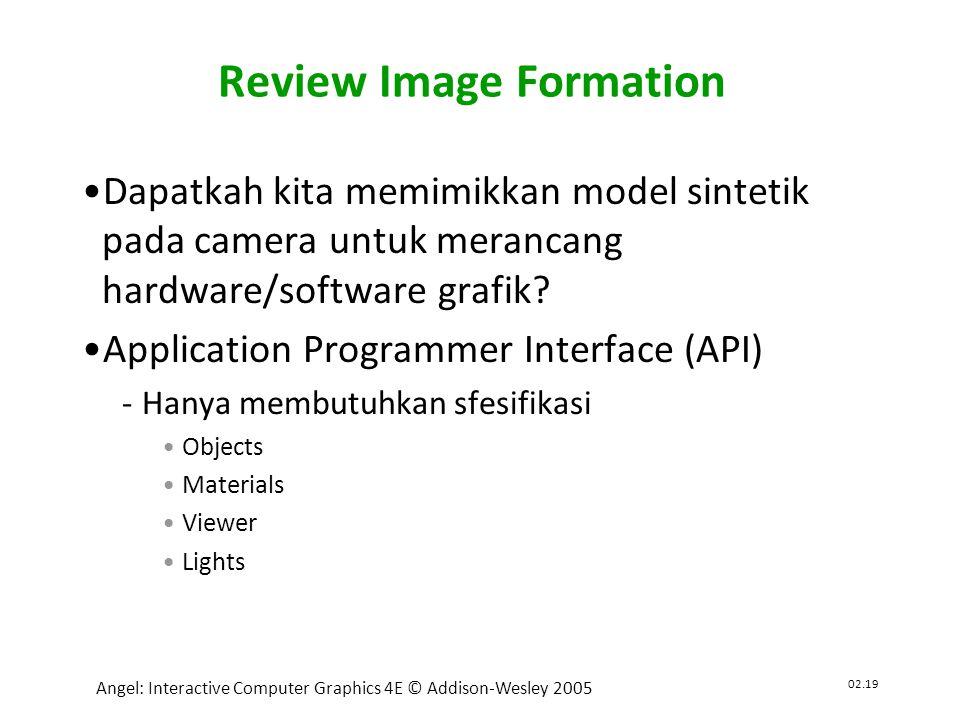 02.19 Angel: Interactive Computer Graphics 4E © Addison-Wesley 2005 Review Image Formation •Dapatkah kita memimikkan model sintetik pada camera untuk merancang hardware/software grafik.