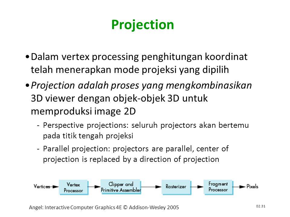 02.31 Angel: Interactive Computer Graphics 4E © Addison-Wesley 2005 Projection •Dalam vertex processing penghitungan koordinat telah menerapkan mode projeksi yang dipilih •Projection adalah proses yang mengkombinasikan 3D viewer dengan objek-objek 3D untuk memproduksi image 2D Perspective projections: seluruh projectors akan bertemu pada titik tengah projeksi Parallel projection: projectors are parallel, center of projection is replaced by a direction of projection