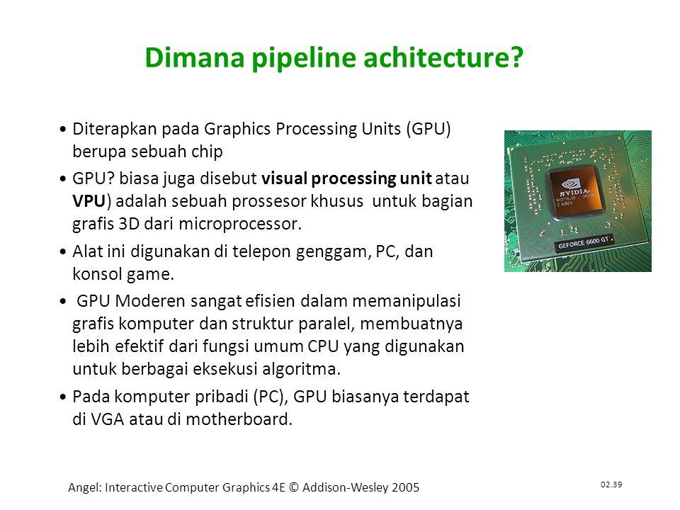 02.39 Angel: Interactive Computer Graphics 4E © Addison-Wesley 2005 Dimana pipeline achitecture.