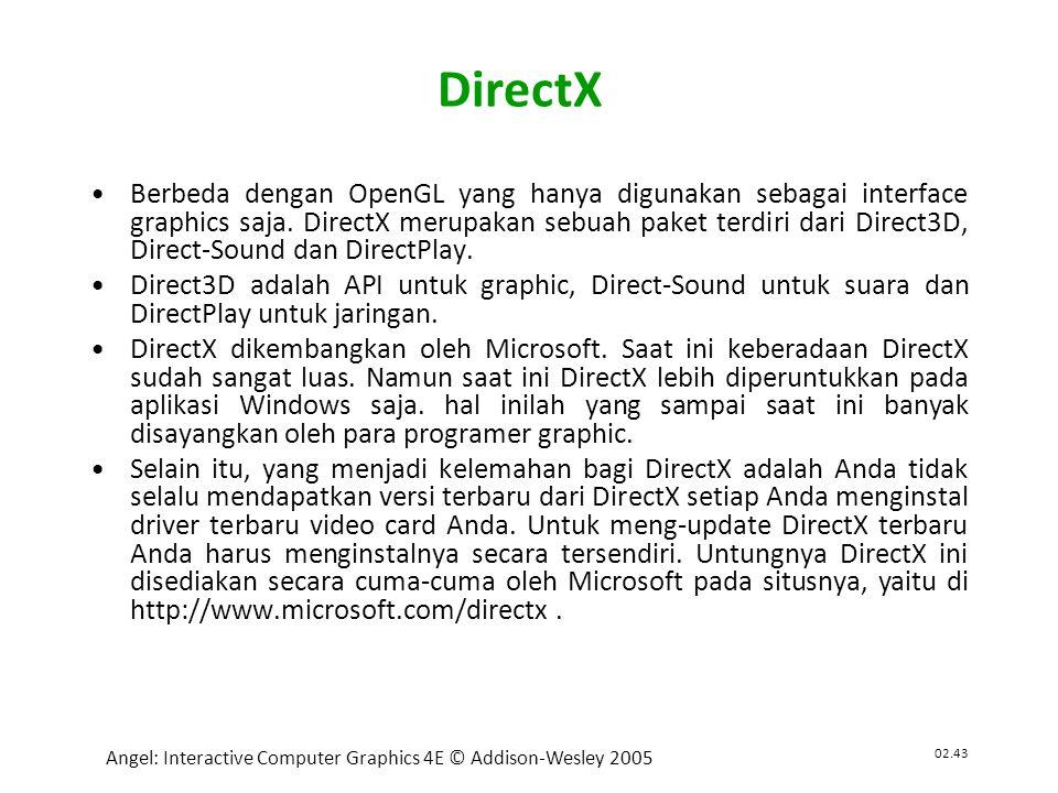 02.43 Angel: Interactive Computer Graphics 4E © Addison-Wesley 2005 DirectX •Berbeda dengan OpenGL yang hanya digunakan sebagai interface graphics saja.