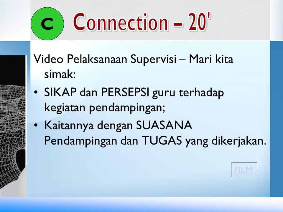 Video Pelaksanaan Supervisi – Mari kita simak: •SIKAP dan PERSEPSI guru terhadap kegiatan pendampingan; •Kaitannya dengan SUASANA Pendampingan dan TUG