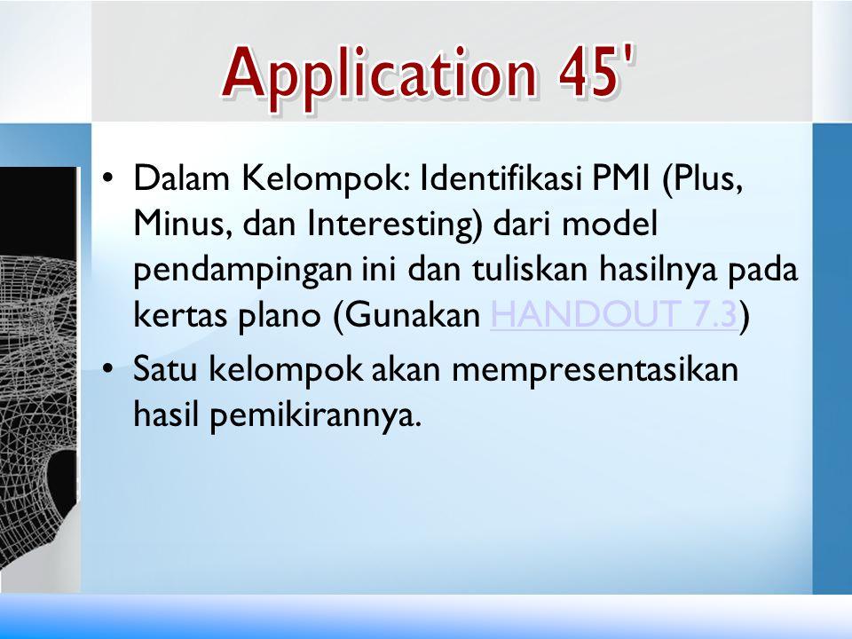 •Dalam Kelompok: Identifikasi PMI (Plus, Minus, dan Interesting) dari model pendampingan ini dan tuliskan hasilnya pada kertas plano (Gunakan HANDOUT