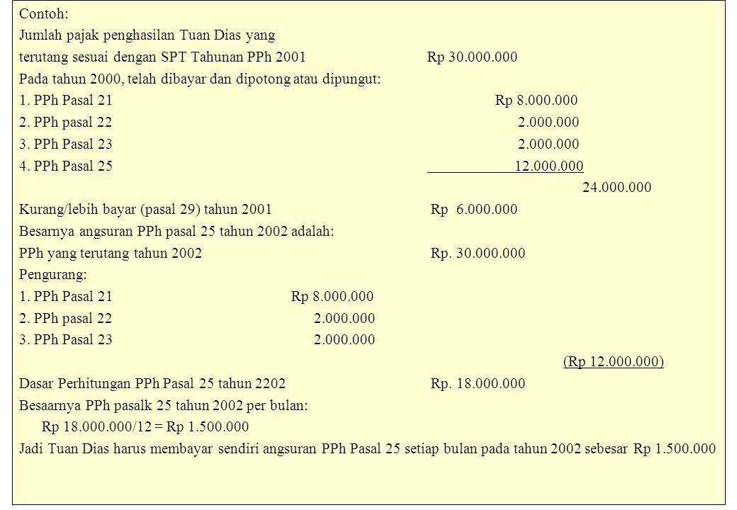 Contoh: Jumlah pajak penghasilan Tuan Dias yang terutang sesuai dengan SPT Tahunan PPh 2001Rp 30.000.000 Pada tahun 2000, telah dibayar dan dipotong atau dipungut: 1.