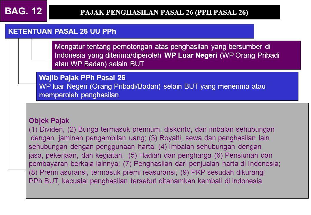 PAJAK PENGHASILAN PASAL 26 (PPH PASAL 26) KETENTUAN PASAL 26 UU PPh Mengatur tentang pemotongan atas penghasilan yang bersumber di Indonesia yang diterima/diperoleh WP Luar Negeri (WP Orang Pribadi atau WP Badan) selain BUT Wajib Pajak PPh Pasal 26 WP luar Negeri (Orang Pribadi/Badan) selain BUT yang menerima atau memperoleh penghasilan Objek Pajak (1) Dividen; (2) Bunga termasuk premium, diskonto, dan imbalan sehubungan dengan jaminan pengambilan uang; (3) Royalti, sewa dan penghasilan lain sehubungan dengan penggunaan harta; (4) Imbalan sehubungan dengan jasa, pekerjaan, dan kegiatan; (5) Hadiah dan pengharga (6) Pensiunan dan pembayaran berkala lainnya; (7) Penghasilan dari penjualan harta di Indonesia; (8) Premi asuransi, termasuk premi reasuransi; (9) PKP sesudah dikurangi PPh BUT, kecualai penghasilan tersebut ditanamkan kembali di indonesia BAG.