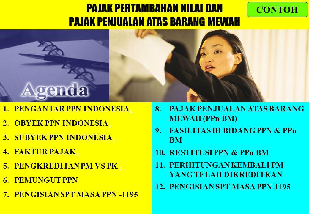 116 PAJAK PERTAMBAHAN NILAI DAN PAJAK PENJUALAN ATAS BARANG MEWAH 1.PENGANTAR PPN INDONESIA..