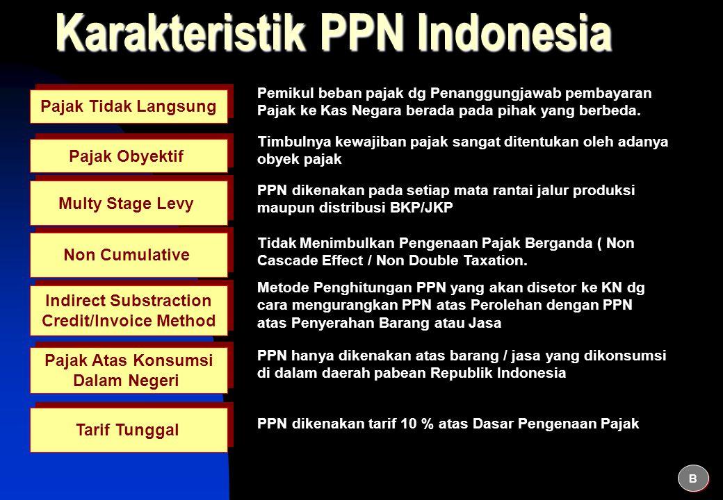 Karakteristik PPN Indonesia Pajak Tidak Langsung Pemikul beban pajak dg Penanggungjawab pembayaran Pajak ke Kas Negara berada pada pihak yang berbeda.