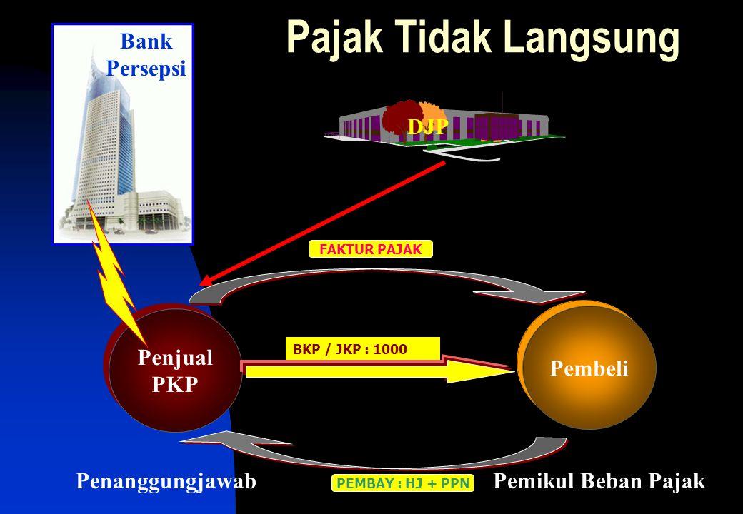 Penjual PKP Penjual PKP DJP Pembeli BKP / JKP : 1000 PEMBAY : HJ + PPN Pajak Tidak Langsung FAKTUR PAJAK Bank Persepsi Pemikul Beban PajakPenanggungjawab