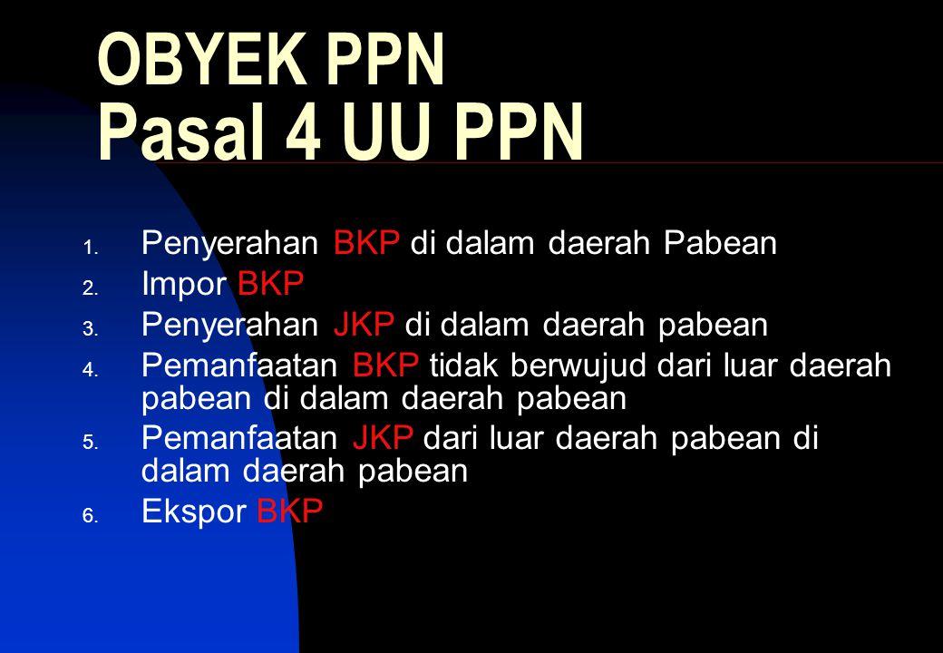 OBYEK PPN Pasal 4 UU PPN 1.Penyerahan BKP di dalam daerah Pabean 2.