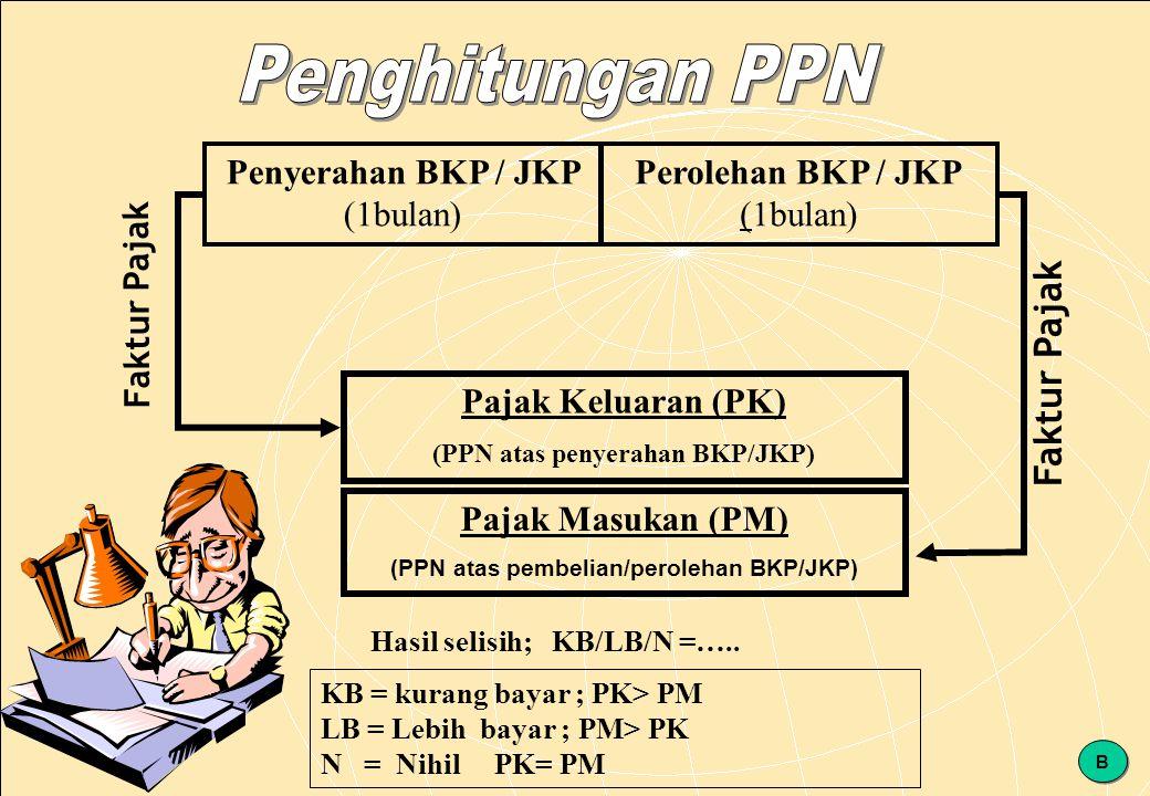 147 Penyerahan BKP / JKP (1bulan) Perolehan BKP / JKP (1bulan) Pajak Keluaran (PK) (PPN atas penyerahan BKP/JKP) Pajak Masukan (PM) (PPN atas pembelian/perolehan BKP/JKP) Hasil selisih; KB/LB/N =…..