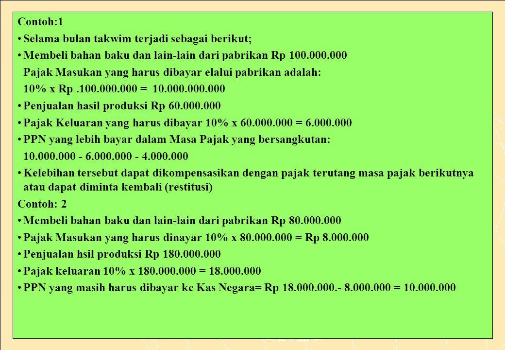 154 Contoh:1 •Selama bulan takwim terjadi sebagai berikut; •Membeli bahan baku dan lain-lain dari pabrikan Rp 100.000.000 Pajak Masukan yang harus dibayar elalui pabrikan adalah: 10% x Rp.100.000.000 = 10.000.000.000 •Penjualan hasil produksi Rp 60.000.000 •Pajak Keluaran yang harus dibayar 10% x 60.000.000 = 6.000.000 •PPN yang lebih bayar dalam Masa Pajak yang bersangkutan: 10.000.000 - 6.000.000 - 4.000.000 •Kelebihan tersebut dapat dikompensasikan dengan pajak terutang masa pajak berikutnya atau dapat diminta kembali (restitusi) Contoh: 2 •Membeli bahan baku dan lain-lain dari pabrikan Rp 80.000.000 •Pajak Masukan yang harus dinayar 10% x 80.000.000 = Rp 8.000.000 •Penjualan hsil produksi Rp 180.000.000 •Pajak keluaran 10% x 180.000.000 = 18.000.000 •PPN yang masih harus dibayar ke Kas Negara= Rp 18.000.000.- 8.000.000 = 10.000.000