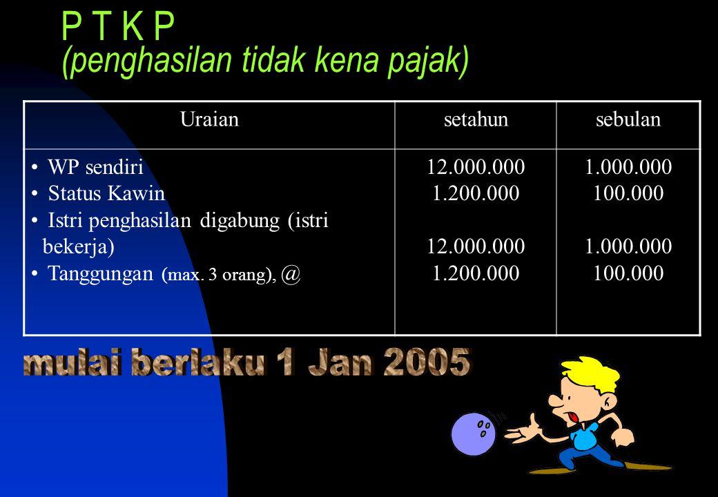 P T K P (penghasilan tidak kena pajak) Uraiansetahunsebulan • WP sendiri • Status Kawin • Istri penghasilan digabung (istri bekerja) • Tanggungan (max.