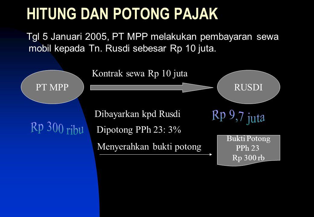 HITUNG DAN POTONG PAJAK Tgl 5 Januari 2005, PT MPP melakukan pembayaran sewa mobil kepada Tn.