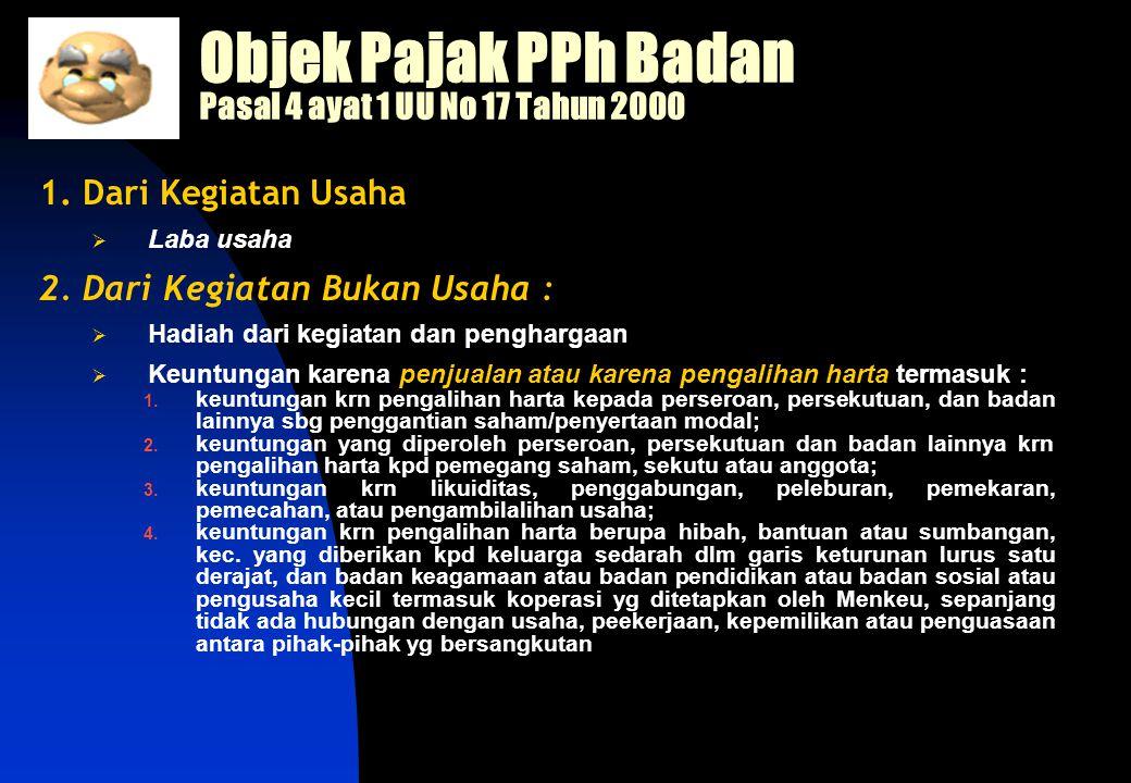 Objek Pajak PPh Badan Pasal 4 ayat 1 UU No 17 Tahun 2000 1.