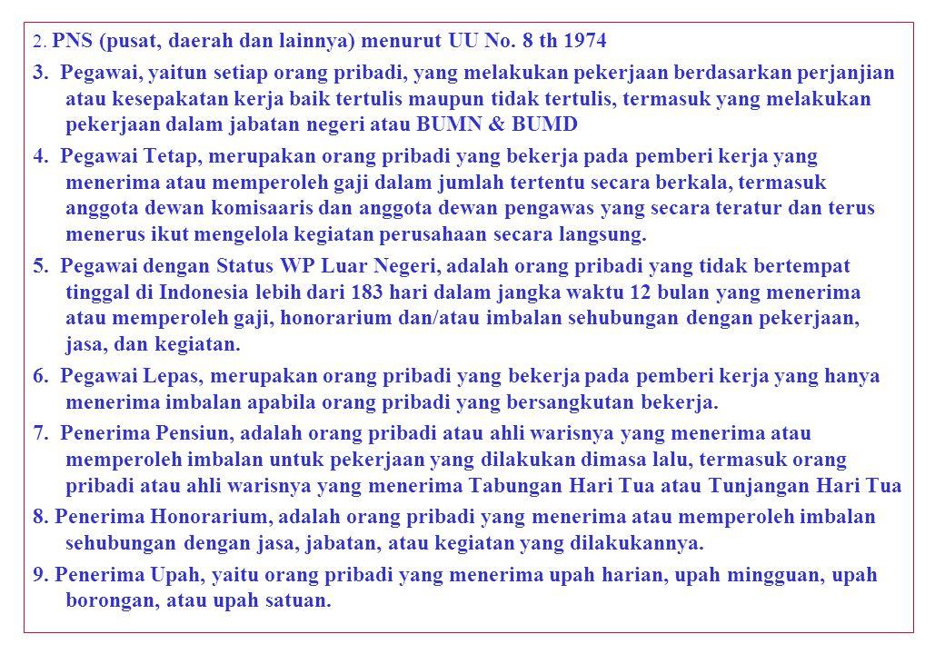 2.PNS (pusat, daerah dan lainnya) menurut UU No. 8 th 1974 3.