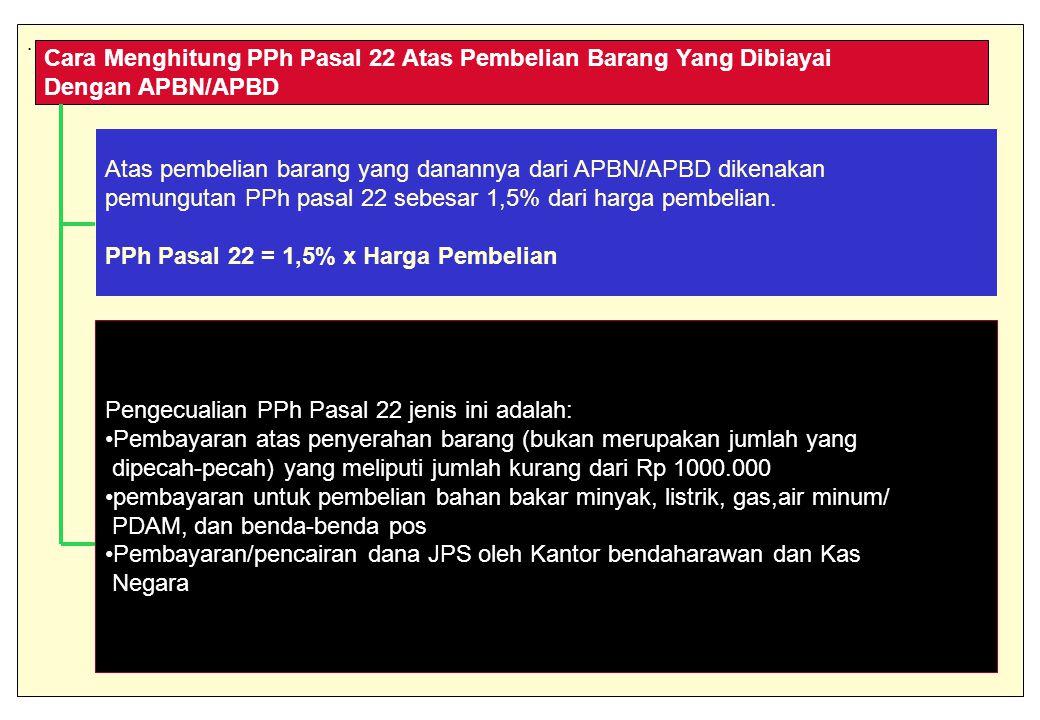 Cara Menghitung PPh Pasal 22 Atas Pembelian Barang Yang Dibiayai Dengan APBN/APBD Atas pembelian barang yang danannya dari APBN/APBD dikenakan pemungutan PPh pasal 22 sebesar 1,5% dari harga pembelian.