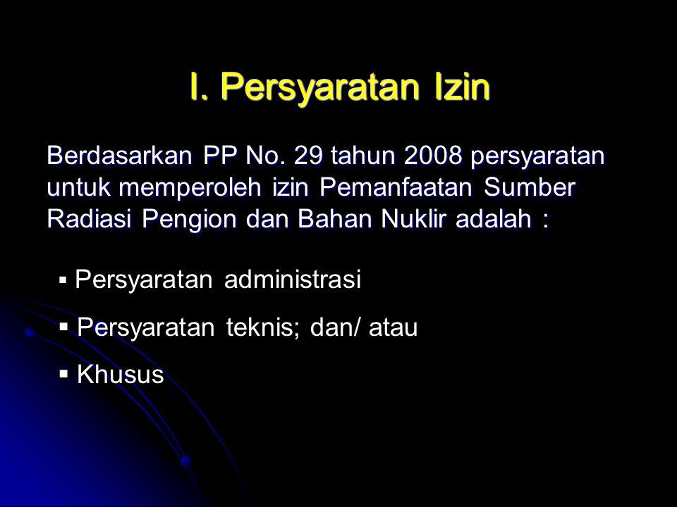a.Persyaratan Administrasi 1. Identitas pemohon izin; 2.