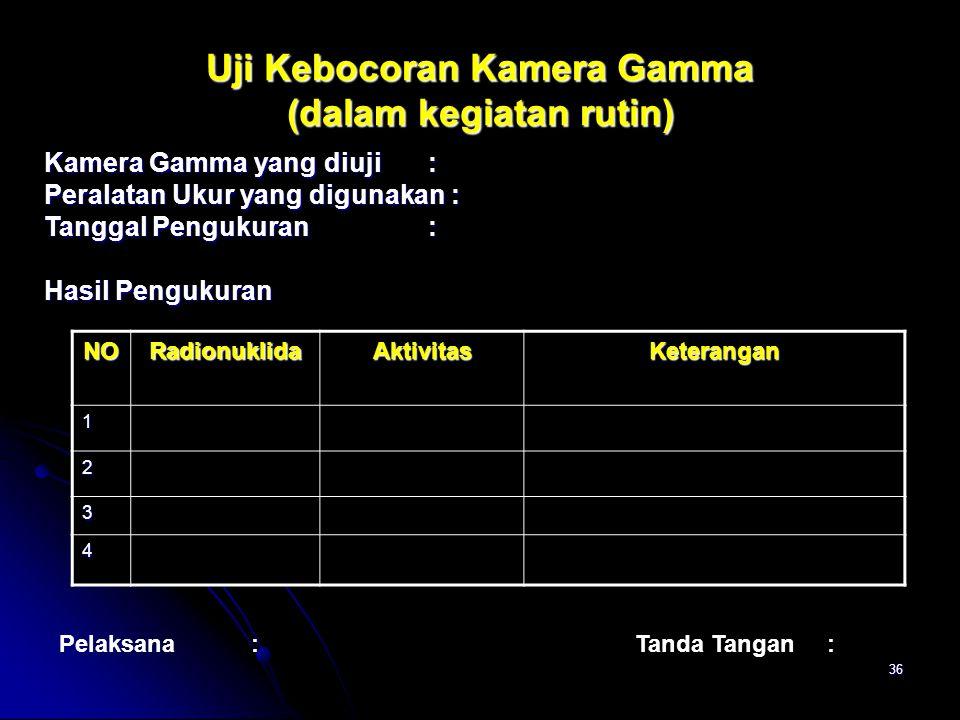 36 Uji Kebocoran Kamera Gamma (dalam kegiatan rutin) Kamera Gamma yang diuji: Peralatan Ukur yang digunakan : Tanggal Pengukuran: Hasil Pengukuran Pel