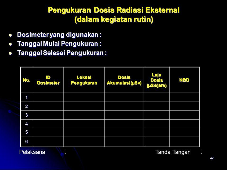 42 Pengukuran Dosis Radiasi Eksternal (dalam kegiatan rutin)  Dosimeter yang digunakan:  Tanggal Mulai Pengukuran:  Tanggal Selesai Pengukuran : Pe