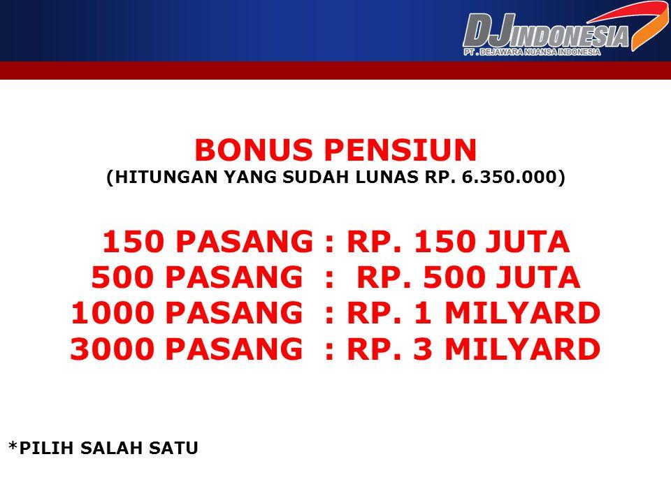 BONUS PENSIUN (HITUNGAN YANG SUDAH LUNAS RP. 6.350.000) 150 PASANG : RP. 150 JUTA 500 PASANG : RP. 500 JUTA 1000 PASANG : RP. 1 MILYARD 3000 PASANG :