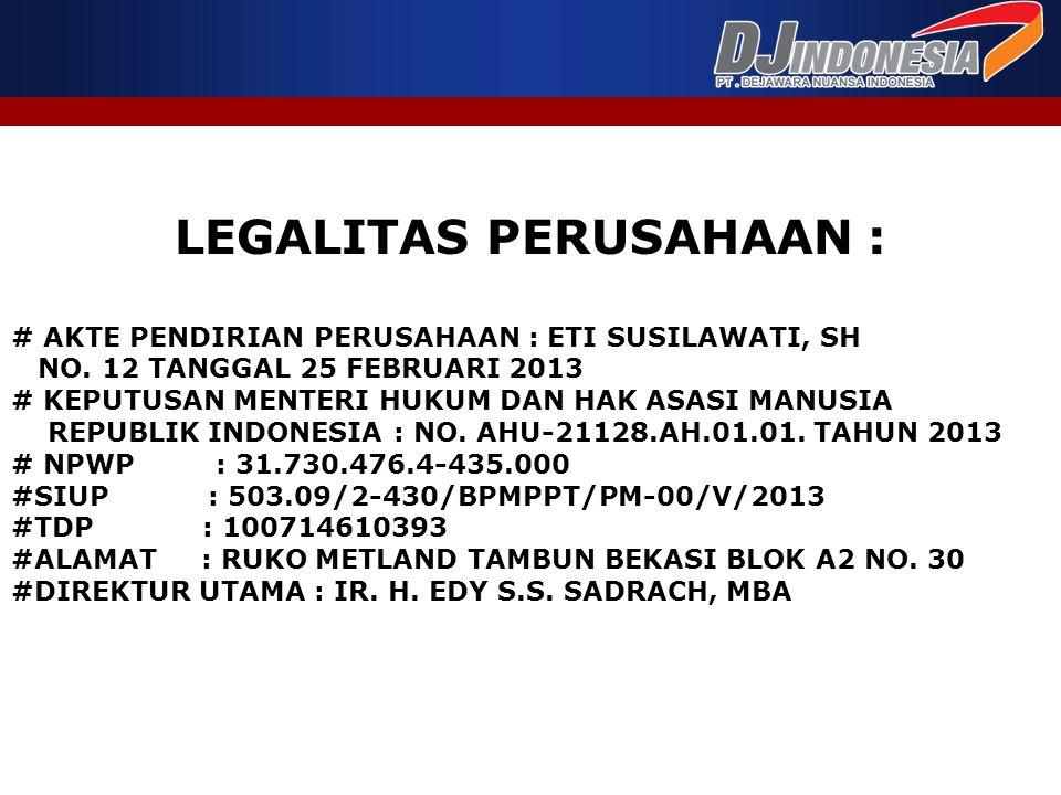 LEGALITAS PERUSAHAAN : # AKTE PENDIRIAN PERUSAHAAN : ETI SUSILAWATI, SH NO. 12 TANGGAL 25 FEBRUARI 2013 # KEPUTUSAN MENTERI HUKUM DAN HAK ASASI MANUSI