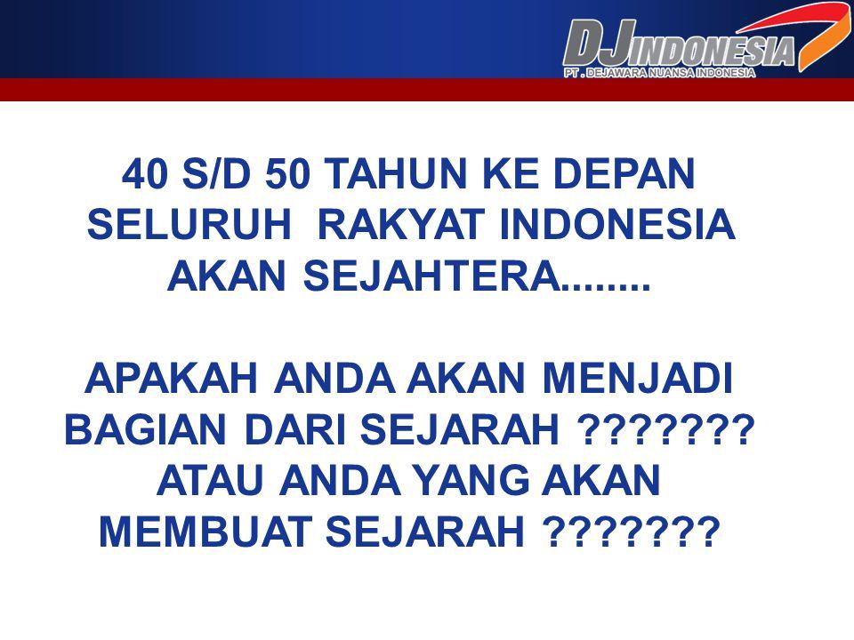 40 S/D 50 TAHUN KE DEPAN SELURUH RAKYAT INDONESIA AKAN SEJAHTERA........ APAKAH ANDA AKAN MENJADI BAGIAN DARI SEJARAH ??????? ATAU ANDA YANG AKAN MEMB