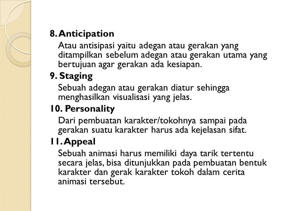 8. Anticipation Atau antisipasi yaitu adegan atau gerakan yang ditampilkan sebelum adegan atau gerakan utama yang bertujuan agar gerakan ada kesiapan.