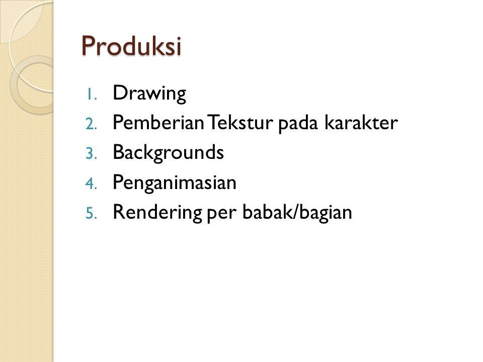 Produksi 1. Drawing 2. Pemberian Tekstur pada karakter 3. Backgrounds 4. Penganimasian 5. Rendering per babak/bagian