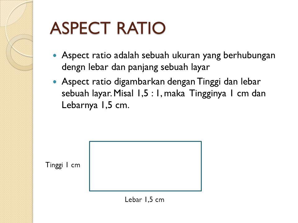 ASPECT RATIO  Aspect ratio adalah sebuah ukuran yang berhubungan dengn lebar dan panjang sebuah layar  Aspect ratio digambarkan dengan Tinggi dan le