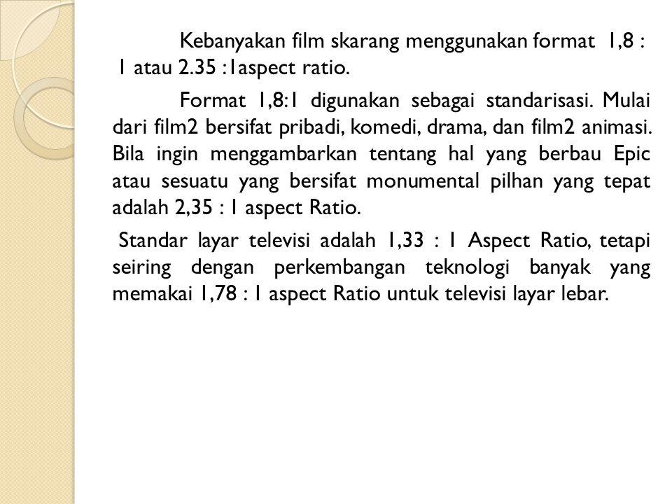Kebanyakan film skarang menggunakan format 1,8 : 1 atau 2.35 :1aspect ratio. Format 1,8:1 digunakan sebagai standarisasi. Mulai dari film2 bersifat pr