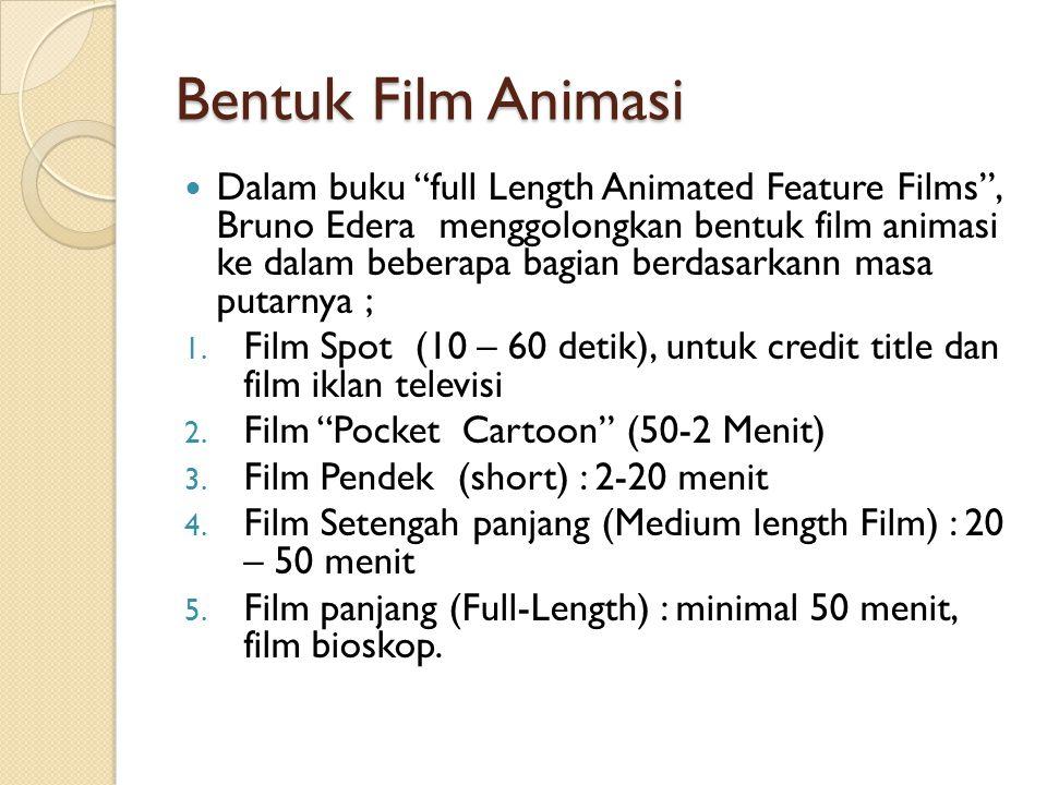 "Bentuk Film Animasi  Dalam buku ""full Length Animated Feature Films"", Bruno Edera menggolongkan bentuk film animasi ke dalam beberapa bagian berdasar"