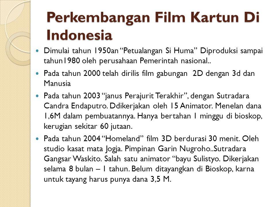 """Perkembangan Film Kartun Di Indonesia  Dimulai tahun 1950an """"Petualangan Si Huma"""" Diproduksi sampai tahun1980 oleh perusahaan Pemerintah nasional.. """