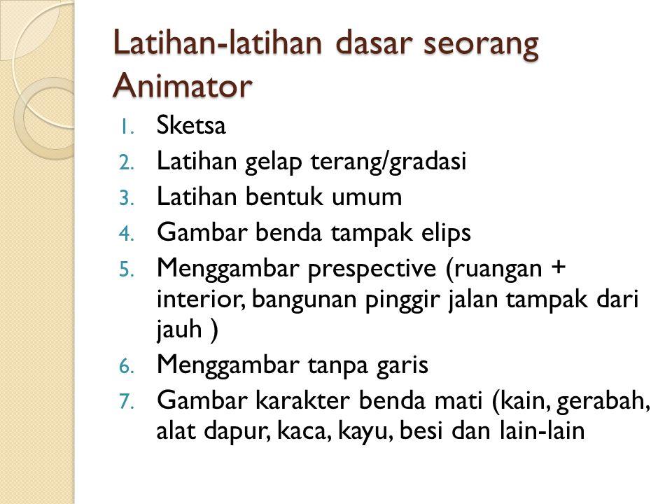 Latihan-latihan dasar seorang Animator 1. Sketsa 2. Latihan gelap terang/gradasi 3. Latihan bentuk umum 4. Gambar benda tampak elips 5. Menggambar pre