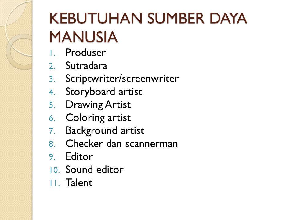 KEBUTUHAN SUMBER DAYA MANUSIA 1. Produser 2. Sutradara 3. Scriptwriter/screenwriter 4. Storyboard artist 5. Drawing Artist 6. Coloring artist 7. Backg