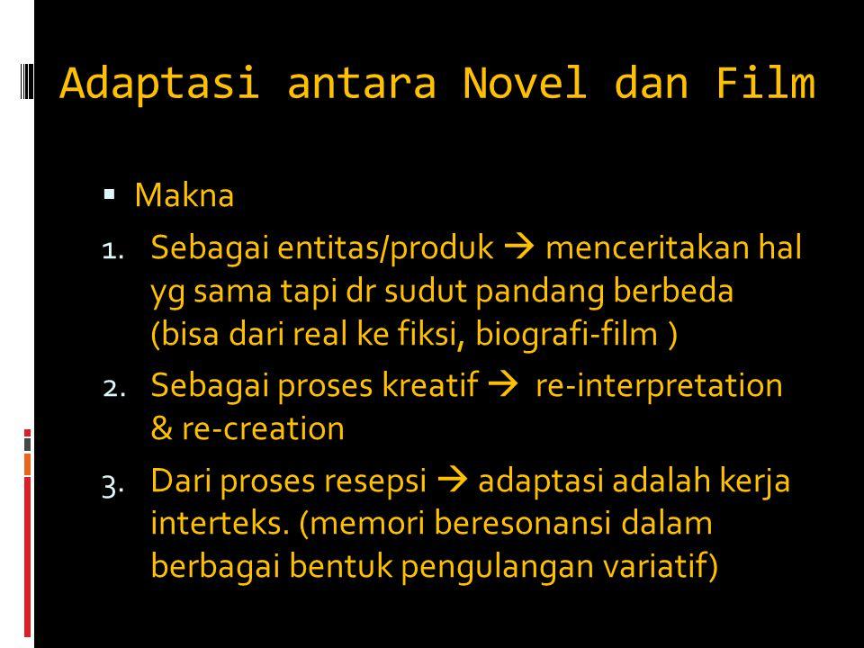 Adaptasi antara Novel dan Film  Makna 1. Sebagai entitas/produk  menceritakan hal yg sama tapi dr sudut pandang berbeda (bisa dari real ke fiksi, bi