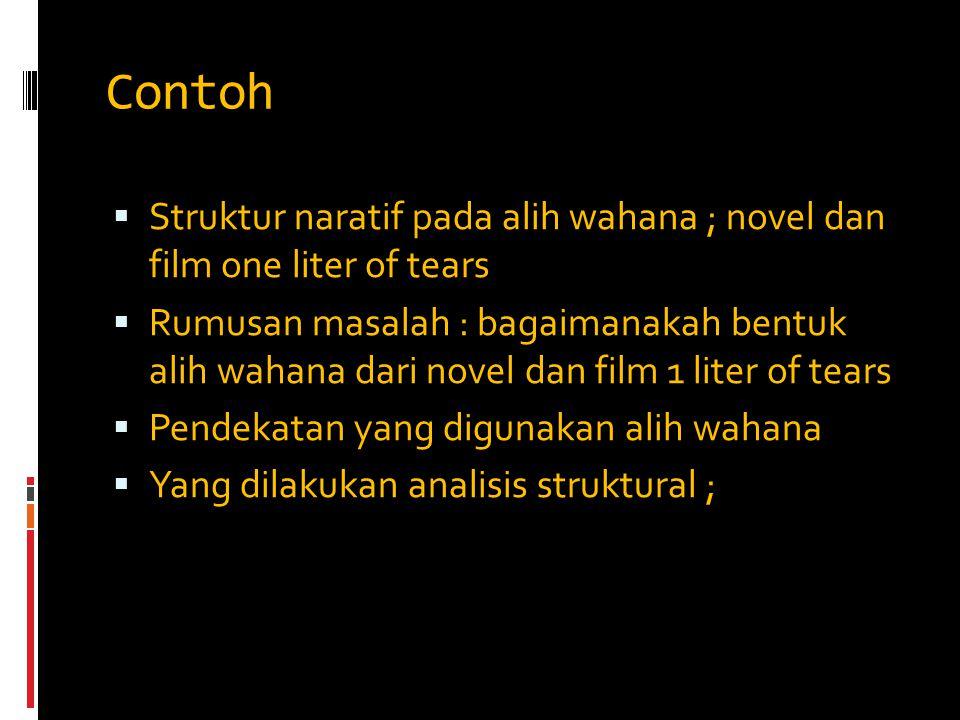 Contoh  Struktur naratif pada alih wahana ; novel dan film one liter of tears  Rumusan masalah : bagaimanakah bentuk alih wahana dari novel dan film