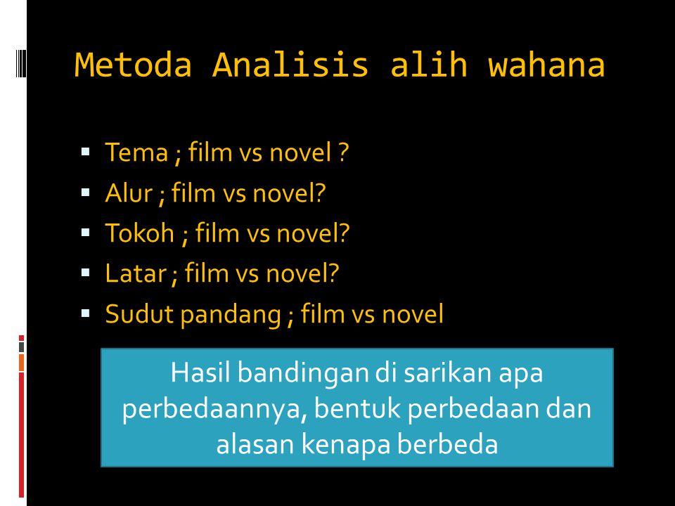 Metoda Analisis alih wahana  Tema ; film vs novel ?  Alur ; film vs novel?  Tokoh ; film vs novel?  Latar ; film vs novel?  Sudut pandang ; film