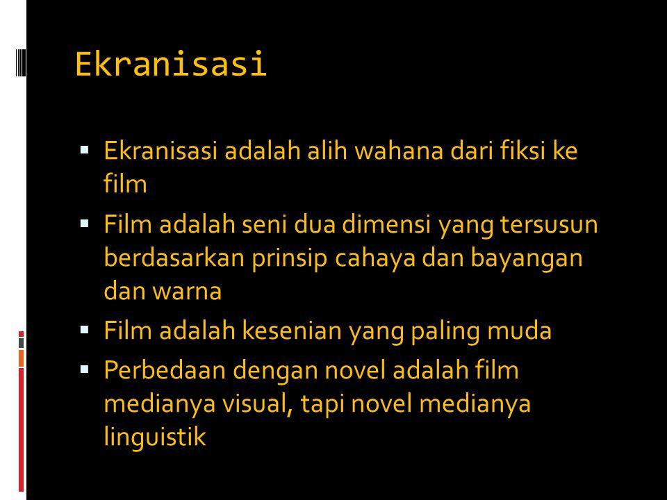 Ekranisasi  Ekranisasi adalah alih wahana dari fiksi ke film  Film adalah seni dua dimensi yang tersusun berdasarkan prinsip cahaya dan bayangan dan