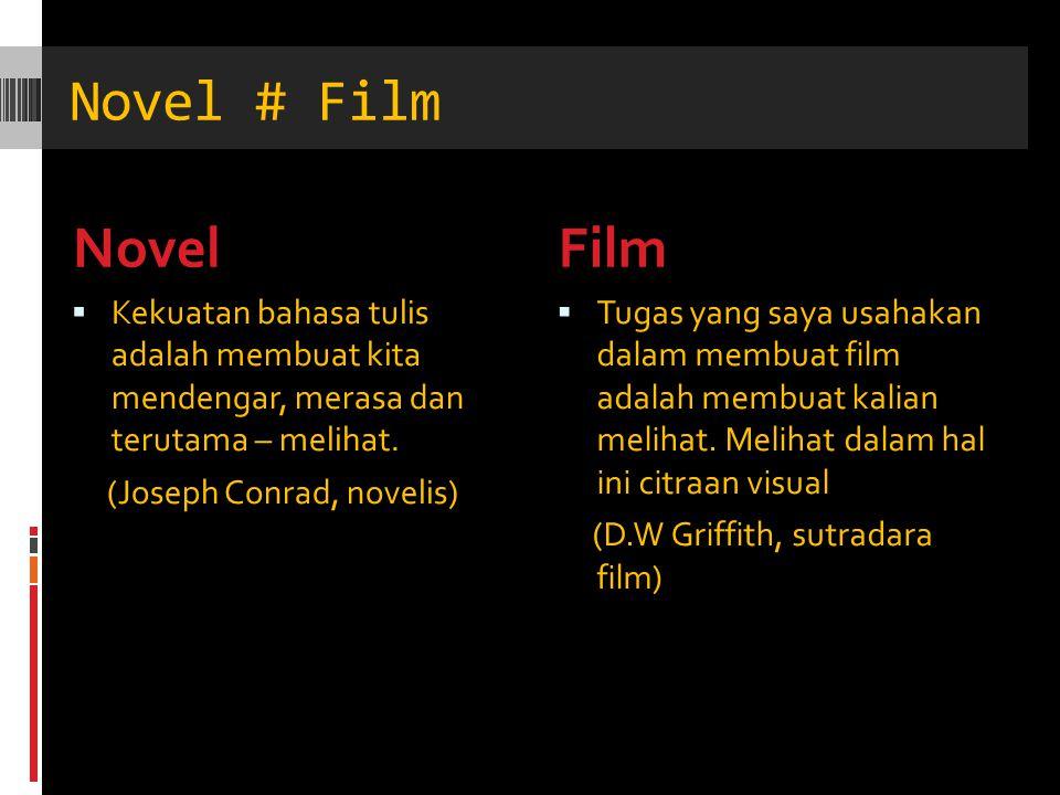 Novel # Film NovelFilm  Kekuatan bahasa tulis adalah membuat kita mendengar, merasa dan terutama – melihat. (Joseph Conrad, novelis)  Tugas yang say