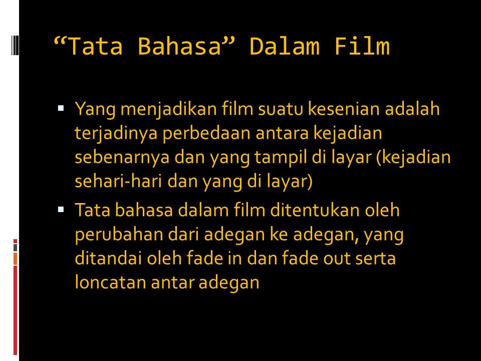 """""""Tata Bahasa"""" Dalam Film  Yang menjadikan film suatu kesenian adalah terjadinya perbedaan antara kejadian sebenarnya dan yang tampil di layar (kejadi"""