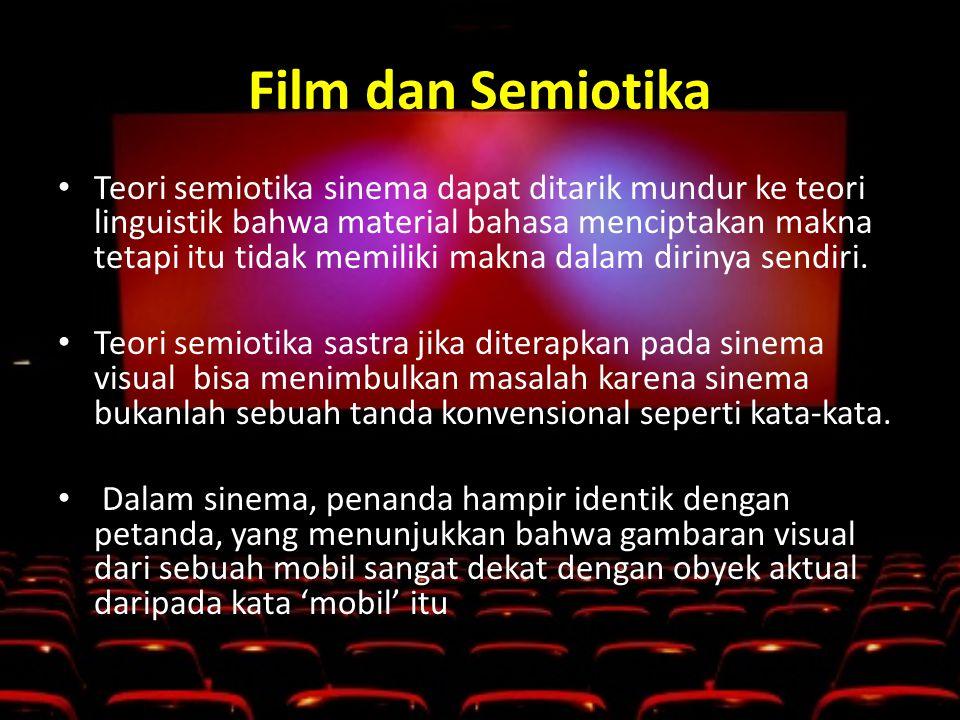 Film dan Semiotika • Teori semiotika sinema dapat ditarik mundur ke teori linguistik bahwa material bahasa menciptakan makna tetapi itu tidak memiliki makna dalam dirinya sendiri.