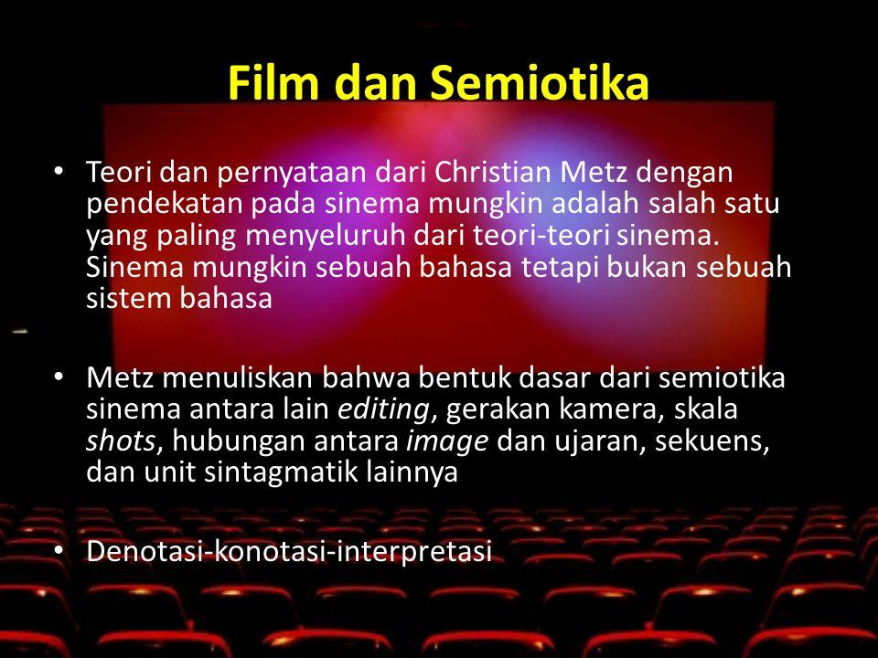 Film dan Semiotika • Teori dan pernyataan dari Christian Metz dengan pendekatan pada sinema mungkin adalah salah satu yang paling menyeluruh dari teori-teori sinema.