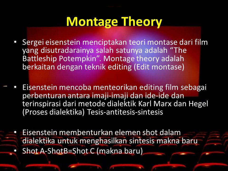 Montage Theory • Sergei eisenstein menciptakan teori montase dari film yang disutradarainya salah satunya adalah The Battleship Potempkin .