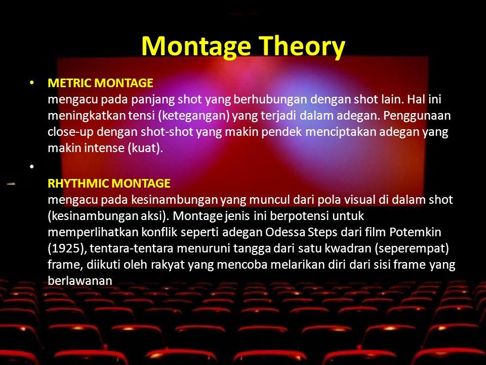 Montage Theory • METRIC MONTAGE mengacu pada panjang shot yang berhubungan dengan shot lain.