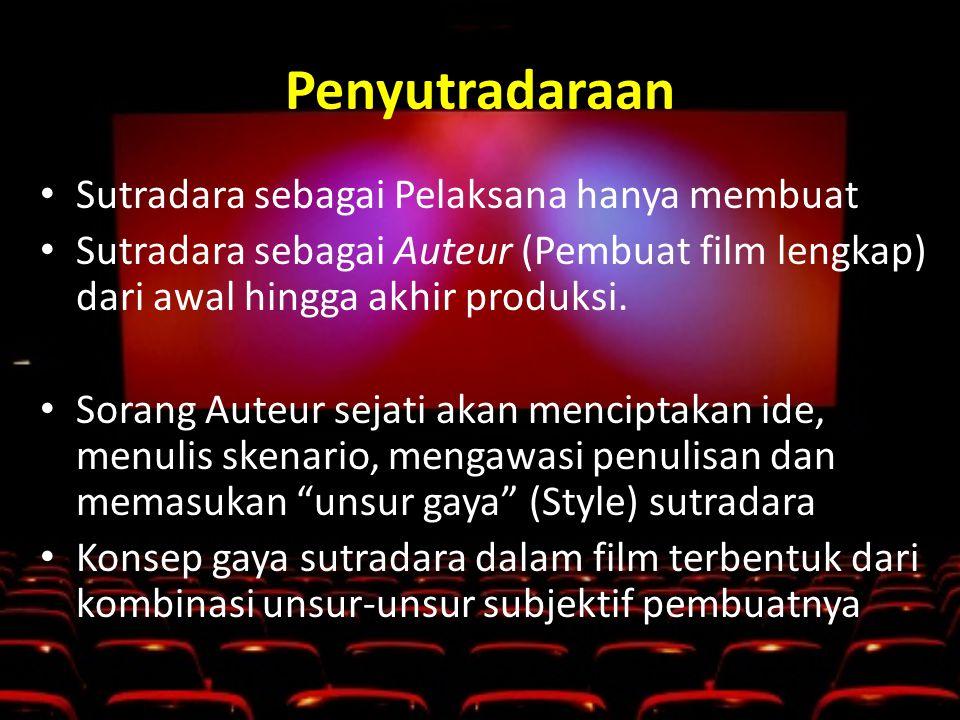 Penyutradaraan • Sutradara sebagai Pelaksana hanya membuat • Sutradara sebagai Auteur (Pembuat film lengkap) dari awal hingga akhir produksi.