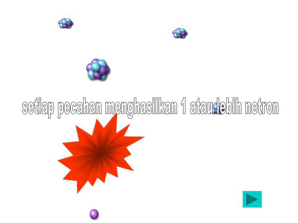 Setiap fisi menghasilkan paling sedikit 1 neutron dan menghasilkan fisi baru dan seterusnya, maka reaksi seperti ini disebut reaksi berantai Memenuhi