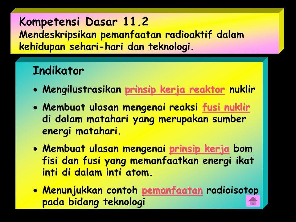 11.1 Menganalisis karakteristik inti atom dan radioaktivitas Standar Kompetensi : 11. Standar Kompetensi : 11. Menunjukkan penerapan konsep fisika int