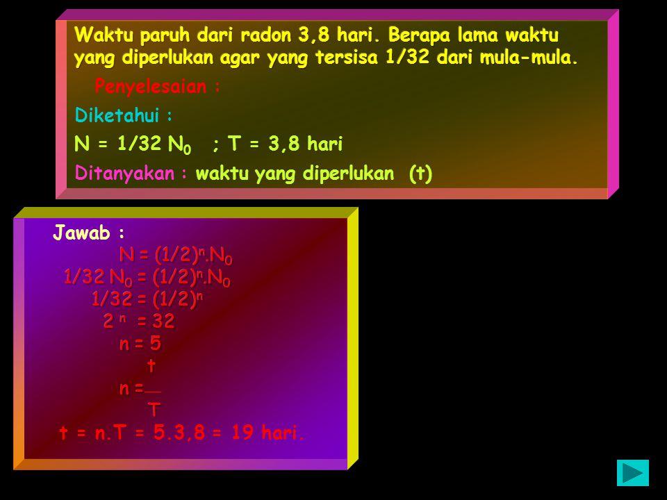 dari jumlah massa pembentuk inti dengan massa inti atom terdapat selisih yang disebut defet massa Dm = (m p + m n ) - m Te125 = 126,04811 - 125,903322