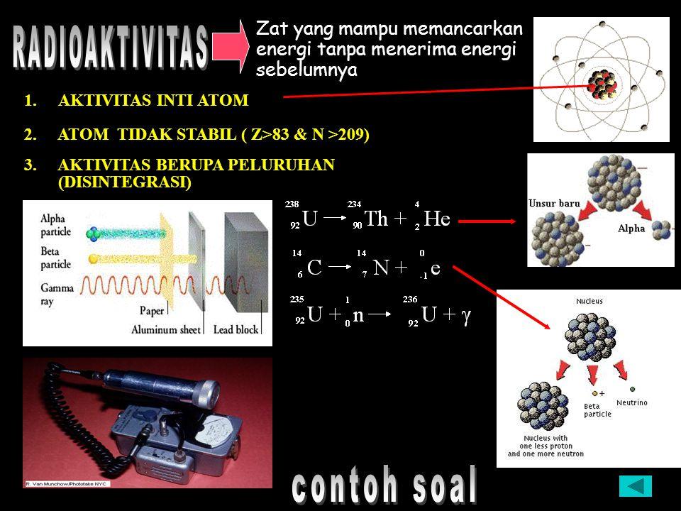 Elektron(-) Inti Proton(+) Netron ( 1,6726485 x 10 –27 kg ; 1,007825 sma ) ( 1,6749543 x 10 –27 kg ; 1,008665 sma ) ( 9,1 x 10 –31 kg ) 1 sma = 1,6604